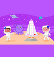 two female astronauts on the moon vector image vector image