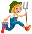 A gardener running with a rake and a pail vector image