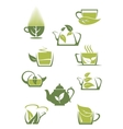 Green or herbal tea icons vector image vector image