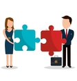 Business people with icons graphic design vector image