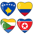 Set of images of hearts with the flags of Korea vector image vector image