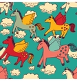 Horses and clouds color seamless pattern vector image