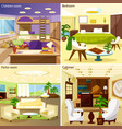 Living Room Interiors 2x2 Design Concept vector image