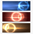 planet in space banners set vector image
