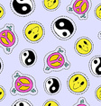 Retro 90s hand drawn stitch patch seamless pattern vector image