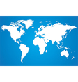 White world map on blue background vector image