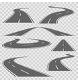 Winding curved road or highway with markings vector image