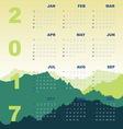 Green mountain view of 2017 calendar vector image
