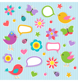 Speech bubbles with cute birds vector image