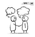 stick figure handshake 2 man with speak and dream vector image