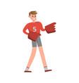 american football fun supporter raising hands vector image