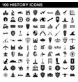100 history icons set simple style vector image vector image