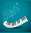 Flying notes with abstract piano keyboard music vector image
