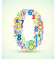Number 0 colored font from numbers vector image