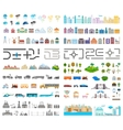 Elements of the modern city and village - stock vector image