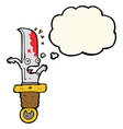 cartoon frightened knife with thought bubble vector image