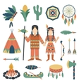 Indians icons traditional travel asia temple vector image