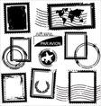 Blank grunge postage stamps vector image