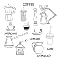 Coffee doodle collection Hand drawn vector image