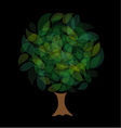 Tree with leaves in shades of green vector image