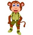 Funny monkey cartoon with safari uniform vector image