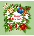 New Year holiday wreath design vector image vector image