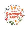 summer party text with beach elements sunscreen vector image