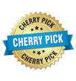 cherry pick round isolated gold badge vector image