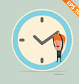 Cartoon Businessman hanging on the clock - - vector image vector image