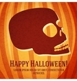 Happy halloween greeting card with carved human vector image
