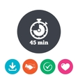 Timer sign icon 45 minutes stopwatch symbol vector image