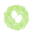 Straw nest with two eggs vector image