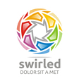 Abstract Logo Swirled Rainbow Ball Symbol vector image
