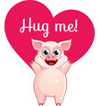 cartoon pig ready for a hugging vector image