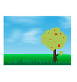 Green grass in a blue sky with tree vector image
