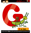 letter g with grasshopper cartoon vector image
