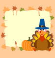 thanskgiving background with turkey and pumpkin vector image