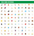 100 inn icons set cartoon style vector image