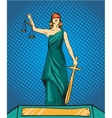 Statue god of justice Themis Femida with balance vector image