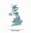 Doodle sketch of United Kingdom map vector image