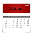 2013 calendar October vector image