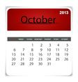 2013 calendar October vector image vector image