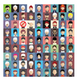 Set of people icons in flat style with faces 04 b vector image
