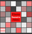 geometric black white red patterns set vector image