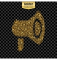 Gold glitter icon of megaphone isolated on vector image