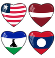 Set of images of hearts with the flags of Laos vector image vector image