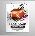abstract rugby sports flyer design with grunge vector image