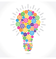 colorful gear make bulb shape vector image