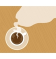 cup of fresh espresso on table view from above vector image
