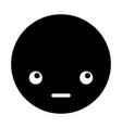 cute black kawaii emoticon face vector image